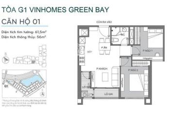 Chính chủ cần bán gấp căn 2PN, 1WC tòa G1 Vinhomes Greenbay, giá: 2,250 tỷ