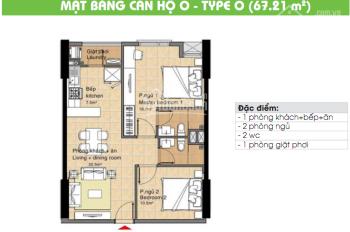 Chủ nhà cần tiền bán  căn hộ 67m2, 2 phòng ngủ ,  view sông, 1.580 tỷ , 0902 952 838
