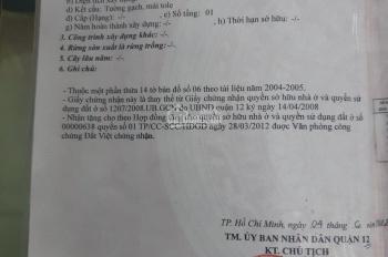 Bán nhà cấp 4 mặt tiền Nguyễn Thị Búp, nhà bên dân DT 4.10 x22m, giá 6.2tỷ, LH 0965625637