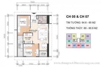 Chú Trung bán rẻ căn 1505 DT 60,9m2 tòa CT1 chung cư A10 Nam Trung Yên, giá 29tr/m2. LH 0968822071