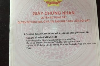Bán đất nền có sổ đỏ trung tâm Vĩnh Yên, đường 13.5m, đã có sổ đỏ - LH 0334.688.883