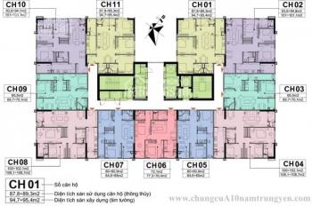 Bán lỗ CHCC A10 Nam Trung Yên, 1203-CT1: 65,5m2 & 1604-CT1: 102,1m2, giá 29tr/m2. LH O971.O85.383