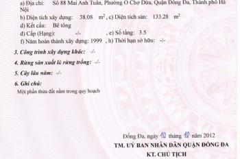 Chính chủ bán nhà mặt tiền số 88 Mai Anh Tuấn, P. Ô Chợ Dừa. Đống Đa. Liên hệ chính chủ 0347969999