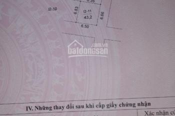 CC Cần Bán Lô Đất 43,2m2 giá 86tr/m Lô Góc Mặt Ngõ Phân Lô DV Mỗ Lao - Hà Đông-HN.Sổ đỏ:0399491986.