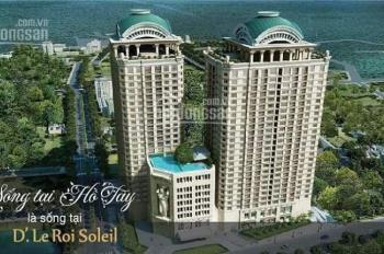 Căn vip 2PN, 2WC, tầng cao view Hồ Tây,giá rẻ +CK 300tr dự án D Le Roi Solelil, Quảng An.0944431092