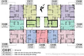 Bán lỗ căn 3PN, T1611 - CT1, DT 89m2, CC A10 Nam Trung Yên, giá 28tr/m2 (BT) chính chủ 0977520359