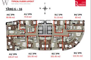 Bán căn hộ 3 phòng ngủ số 03 tòa A, DT: 120m2 chung cư Watermark. LH: 0981305090