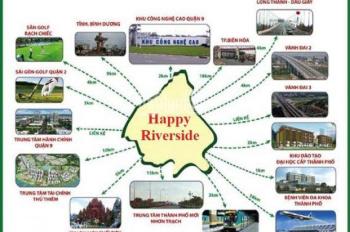 Bán ngay lô đất Happy Riverside MT Nguyễn Xiển, View sông, Q9, giá 2.2 tỷ nền 100m2. 0903616491
