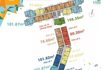 Cần cho thuê gấp căn hộ 2PN Krista tầng cao view biệt thự giá 12tr/tháng, full nội thất 0938658818