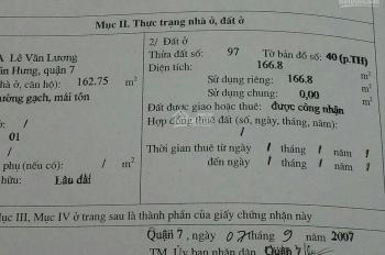 Bán nhà 116A Lê Văn Lương, P.Tân Hưng, Q.7 DTCN 162.75m2 giá 17 tỷ thương lượng