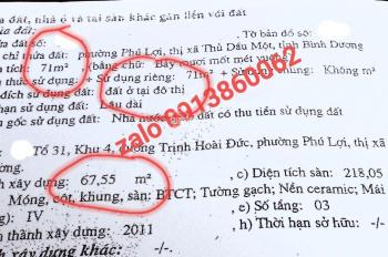 Bán Nhà Nghĩ 1 trệt 2 lầu mặt tiền Trịnh Hòai Đức, p. Phú Lợi, TDM, BD. DT 71m2. Tây Bắc. 5,5 tỷ