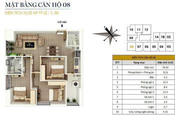 Căn góc 3PN, 76m2, 3PN, giá 1.5 tỷ tại chung cư Flc star tower Quang Trung, nhà thô. Lh 0946543583