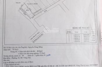 Bán đất 97m2 hẻm 183/9D Lưu Chí Hiếu, P10 Vũng Tàu 2.25 tỷ