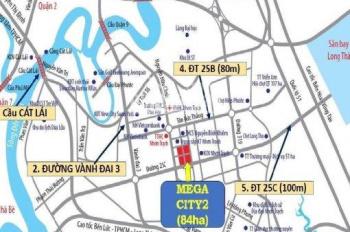 Đất nền Nhơn Trạch, Mega City 2, giá gốc công ty, tặng 5 chỉ vàng, thanh toán theo đợt, giá 7tr/m2