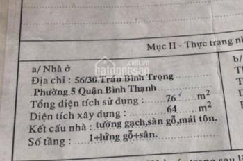 Bán nhà riêng 1 lửng 1 trệt đường Trần Bình Trọng, Phường 5, Bình Thạnh, giá 5.9 tỷ TL