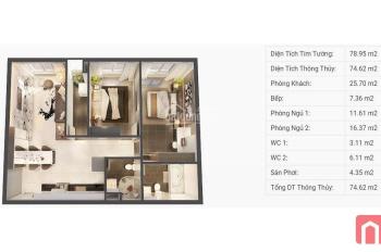 Cần bán CH Topaz Elite, Block Dragon 1A 78m2 2PN 2WC, tầng đẹp tầng 20, chênh lệch chỉ 395 triệu