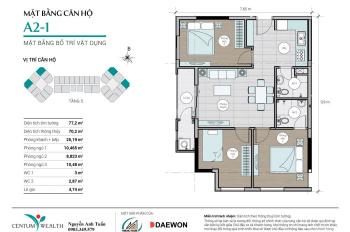 Căn góc A2 - 1, 3PN + 2WC, DT 77.2m2, view đẹp, dự án Centum Wealth Thuduc House - Daewon, 2.80 tỷ
