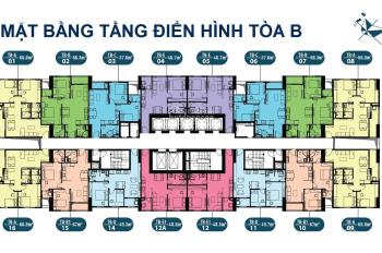 Chính chủ giao bán CHCC Intracom Riverside, căn 1810, DT: 65m2, tòa B, giá: 21tr/m2, LH: 0963922012