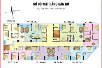 Bán căn hộ chung cư Hanhud 234 Hoàng Quốc Việt, DT: 83, 89, 92m2, giá: 25tr/m2. LH: 0984408805