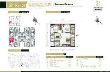 Chung cư 23 Duy Tân Bonanza căn 2 phòng ngủ, 71m2, quản lý dự án 0972197233