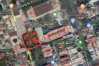 Cần bán đất trống sau lưng trường ĐH Văn Hóa Đ.Quốc Hương, Thảo Điền, Quận 2
