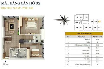 0934515659. Bán căn góc 74m2, 2pn, nội thất cơ bản, giá 1,55 tỷ tại CC FLC Star Tower Quang Trung