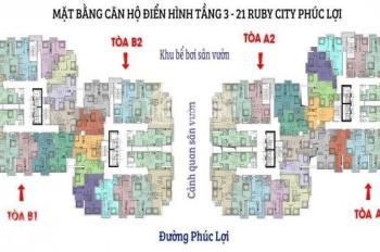 Bán căn hộ 2PN 54m2 chung cư Ruby 3 Phúc Lợi, Long Biên, chỉ 895tr, nhận nhà ngay. LH: 0939576636