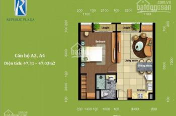 Căn hộ officete 1PN Republic Plaza, 18E Cộng Hòa, 50m2, giá chỉ 2.55 tỷ. LH 0903358083 - 0973478478