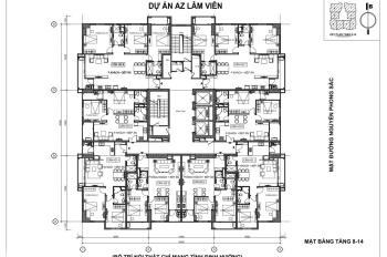 Bán gấp chung cư AZ Lâm Viên, 2 PN, 2WC, 79m2, giá 29tr/th. LH: 0981771238
