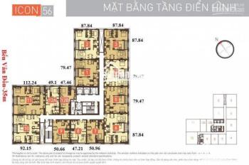 Bán hòa vốn căn hộ 2PN diện tích 79m2 dự án ICON 56 giá 4 tỷ 150 triệu. LH 0917301879