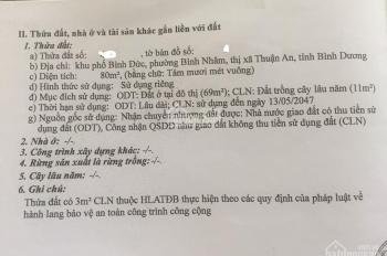 Bán đất khu Lâu Đài Vàng Lái Thiêu  ngay MT đường Nguyễn Văn Lộng,SHR,80m2/ 980tr.SDT: 0961263904