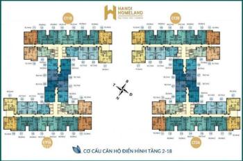CC cần bán rất gấp CH 1215, chung cư Hà Nội HomeLand, LB, DT 69.19m2, giá 20tr/m2.0936104216