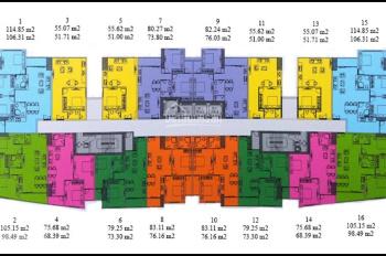 Bán căn hộ 3PN 2WC, 118m2, không nội thất, tầng thấp, giá mềm