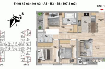 Bán căn hộ 3PN 107m2, 4 tỷ The Zei Mỹ Đình số 8 Lê Đức Thọ hướng ĐB, view hồ Nghĩa Tân