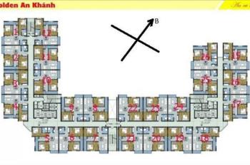 Bán CH 2 PN 69.5m2 toà 18T The Golden An Khánh, giá 1,1 tỷ bao tên