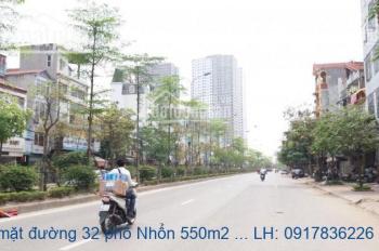 Bán đất mặt đường 32 phố Nhổn 550m2, MT: 30m, giá 95 tỷ