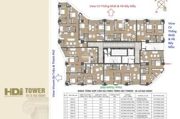 Bảng giá dự án HDI Tower - 55 Lê Đại Hành, Hai Bà Trưng, tầng đẹp view hồ, LH: 0981526828
