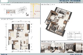 Cần bán gấp căn hộ 2015 chung cư Intracom Đông Anh, DT 64m2, view nhìn cầu Nhật Tân. LH: 0902227009