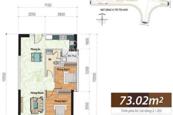 Bán căn hộ view Q1 73m2, 2PN giá 2.450 tỷ, full nội thất