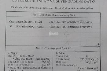 Bán nhà 107 đường Tây Thạnh, Phường Tây Thạnh, Tân Phú, 4m x 25m, cấp 4