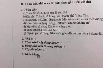 Cần bán lô TĐC 150m2 xã Long Sơn, TP Vũng Tàu