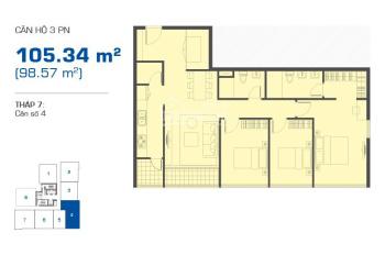 Cho Thuê Căn Hộ 3 PN GIÁ CHỈ 15 TR bao phí , Có Nội Thất , The Sun Avenue , Quận 2.