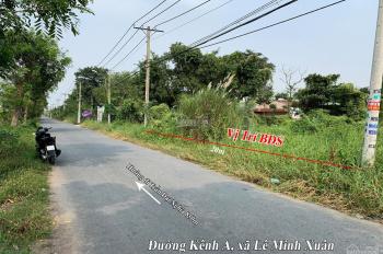 Đất ở mặt tiền Kênh A gần KCN Lê Minh Xuân, 20x62m= 1.265m2 (768.5m2 ODT + 496.5m2 CNL), giá tốt