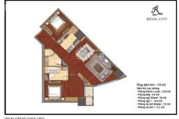 Bán căn 2PN, 110m2, hướng cửa Tây, tòa R1B chung cư Royal City, giá 3,95 tỷ. LH 0934515659