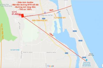 Bán lô đất nền mặt tiền đường Đinh Tiên Hoàng nối dài QH rộng 40m diện tích tổng 330,6m2 (8,25x40)