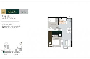 Bán căn hộ La Cosmo - Tân Bình, loại căn A3 View Q1, DT 62m2 thiết kế 2PN, giá bán 3.330 tỷ (Vat)