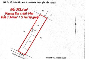 Trí BĐS, Đất ở 8x44m = 352m2, mặt tiền Trần Văn Giàu, Phạm Văn Hai. Gần ngã 4 Kênh A, vị trí đẹp