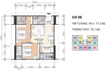 Cắt lỗ căn hộ 2 phòng ngủ 1906 (72m2) tại dự án A10 Nam Trung Yên, giá chỉ 30tr/m2. 0919130482