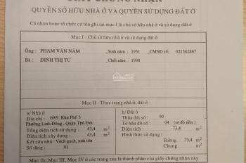 Cần bán nhà riêng tại 199 Tô Ngọc Vân, Linh Đông, Thủ Đức, LH 0908116869