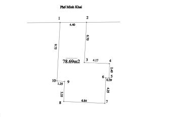 Chính chủ cần bán nhà mặt phố Minh Khai, diện tích 78.69m2, vị trí đẹp, giá 235tr/m2